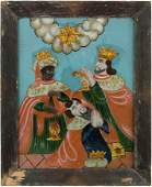 Hinterglasbild Böhmen, Mitte 19.Jh. Polychrome Malerei