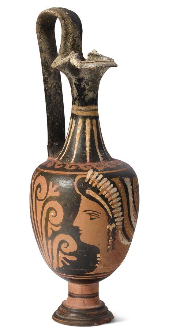 Apulische Oinochoe 4.Jh. v. Chr. Rotfigurig, Details in