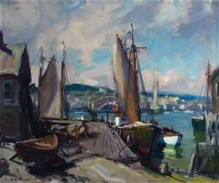 Emile A. Gruppe,    Am. 1896-1978,     Harbor Scene