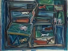 """Hale Aspacio Woodruff, Am. 1900-1980, """"Tenemant"""
