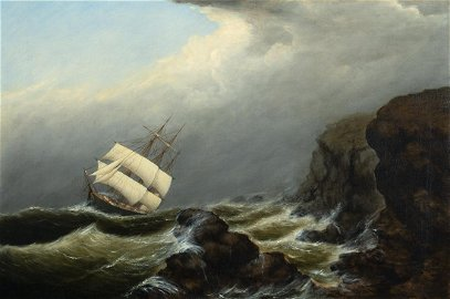 """Clement Drew,    Am. 1806- 1889,     """"Square Rigged"""""""