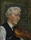 "Jackson Lee Nesbitt.   ""Study for Old Man with Violin"""