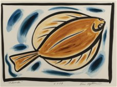 """Eric Hopkins.   """"Flounder"""" 1989   watercolor on paper,"""