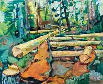 "Carl Sprinchorn, ""Pulpwood Peelings, Maine"" 1940"