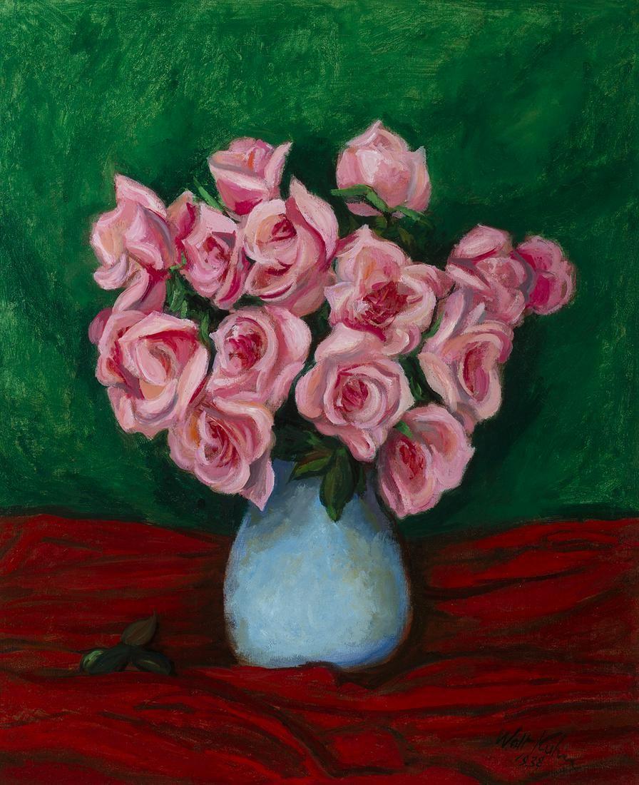 """Walt Kuhn (Am. 1877-1949) - """"Pink Roses in Blue"""