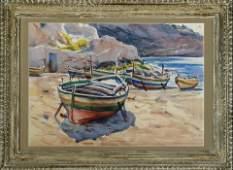 """Claude Montgomery Am. 1912-1990 """"Sicilian Boats"""""""