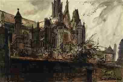 "Emile Bernard, Fr. 1868-1941, ""Senlis"", w/c"