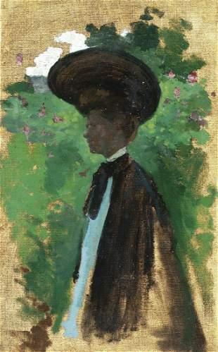 Eurilda L. France -  Portrait of a Woman w/ Hat -o/c