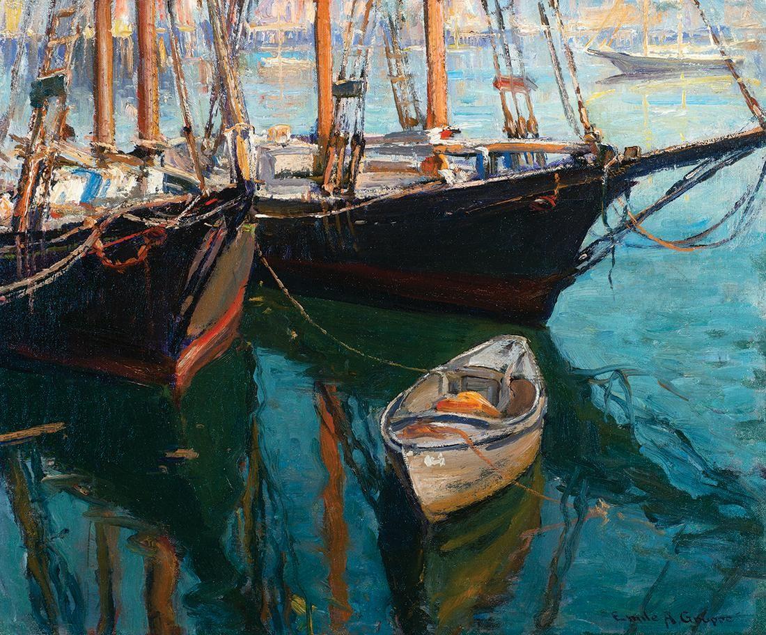 "Emile Albert Gruppe, ""Rockport Harbor"", Oil on canvas"