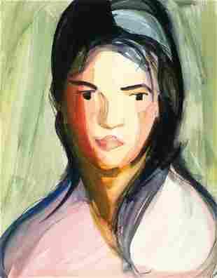 Florence Dreyfous (Am. 1868-1950), Female Portrait, WC