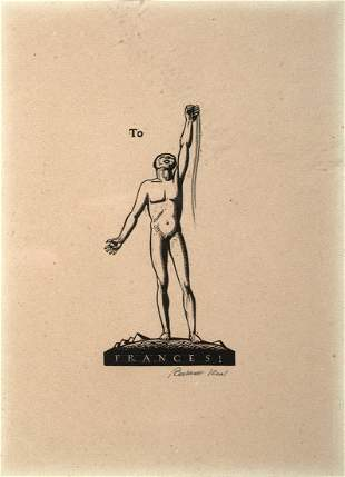 "Rockwell Kent (Am. 1882-1971), ""To Frances!"", Woodcut"