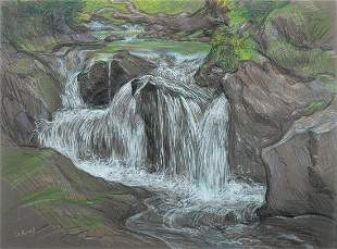 """Paul Cadmus, """"Vermont Brook #3"""", Crayons on fabricant"""