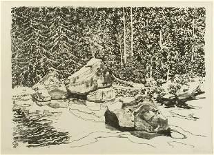 "Neil Welliver (Am. 1929-2005), ""Cedar Water Pool"""