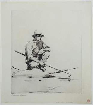 """Frank Weston Benson (Am. 1862-1951), """"Man with a Gaff"""""""