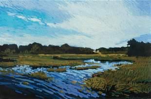 """James Linehan (Am. b. 1953), """"Morning Marsh"""" 1991"""