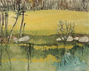 Sheila Geoffrion Am. Late 20th Century Two Watercolors: