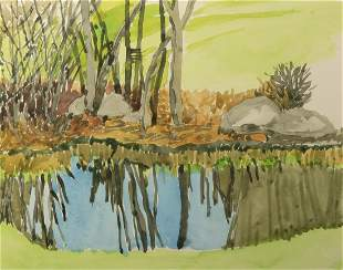 Sheila Geoffrion (Am. Late 20th Century) Two Watercolor