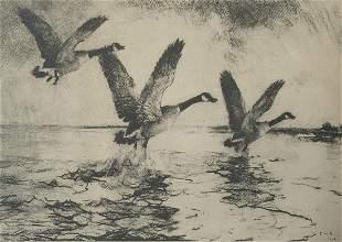 Frank Weston Benson (Am. 1862-1951), Geese Alighting...