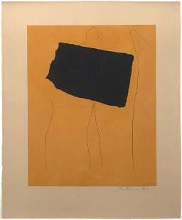 "Robert Motherwell, ""Oy/Yo"" 1978, Aquatint, etching, and"