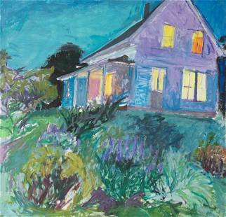 """Henry Finkelstein, """"House Lit Up at Night"""", Oil on"""