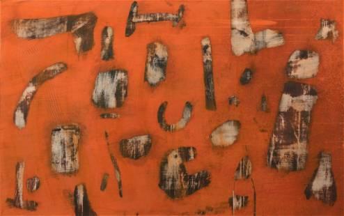 Ernest Trova, Orange Abstraction, 1959, Casein on