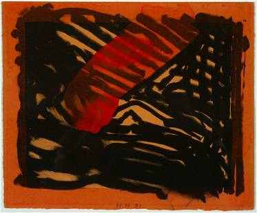 """Howard Hodgkin, """"Red Eye"""" 1981, Lithograph with hand"""
