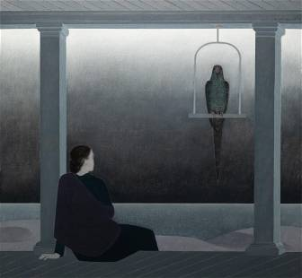 """Will Barnet, """"Woman Seated on Porch Watching An"""