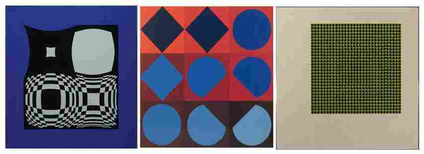 """Victor Vasarely, Three Works: 1] """"TAU-CETI"""" 1967 2]"""