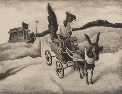 "Thomas Hart Benton, ""Lonesome Road"" 1938, Lithograph on"