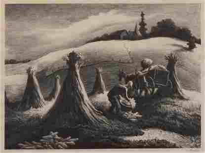 """Thomas Hart Benton, """"Loading Corn (Shucking Corn)"""" 1945"""