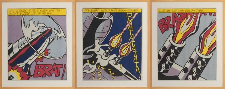 """Roy Lichtenstein, Triptych: """"As I Opened Fire"""" 1964,"""