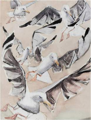 James Fitzgerald, Seagulls, Oil and watercolor on