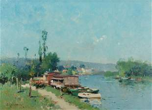 Eugène Galien-Laloue, Along the River, Oil on canvas,