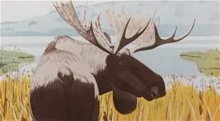 Alex Katz, Moose 1984, Aquatint in colors, framed