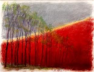 Wolf Kahn, Purple Trees, Orange Hill, Pastel on paper,
