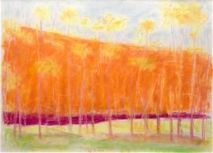 Wolf Kahn, Pastel Landscape, Pastel on paper, framed