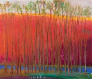 Wolf Kahn, Blue Runs Through It, 2004, Oil on linen,
