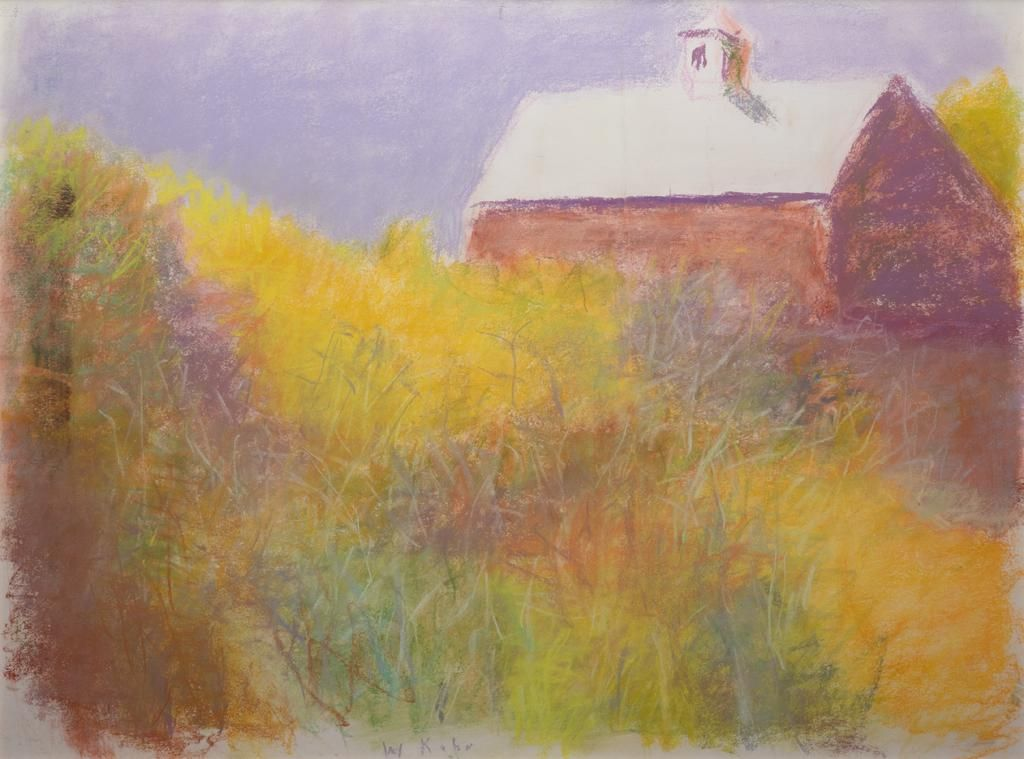 Wolf Kahn, Behind the Barn, Pastel on paper, framed