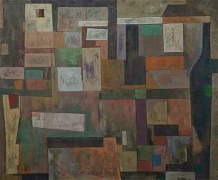 "Joseph Gualtieri, ""Urban"" 1950, Oil on canvas, framed"