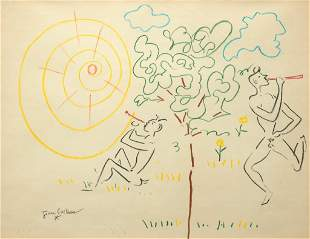 Jean Cocteau, Satyrs Playing Flutes, Colored pencil and