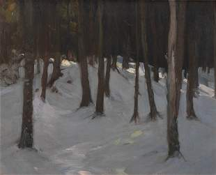 Attr. to Charles Woodbury, Bare Trees in Winter, Oil on