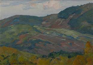 """Charles Woodbury, """"Limerick Maine"""" 1932, Oil on canvas"""