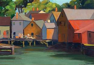 """Elwyn George Gowen, """"Kennebunkport"""" 1932, Oil on board,"""