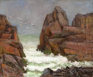"Walt Kuhn, ""Seascape"" 1944, Oil on canvas, framed"