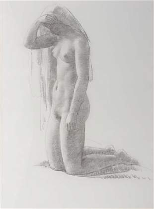 Leon Kroll, On Her Knees, Pencil and charcoal on paper,