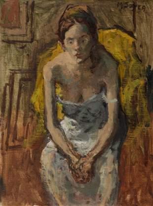 Moses Soyer, White Chemise, 1940, Oil on linen, framed