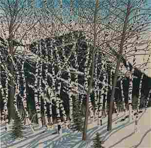 "Neil Welliver, ""Birches"", Woodblock print on paper,"