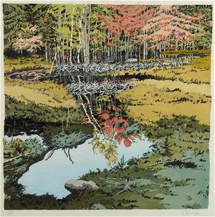 """Neil Welliver, """"New Dams in Meadow"""" 1984, Woodblock"""