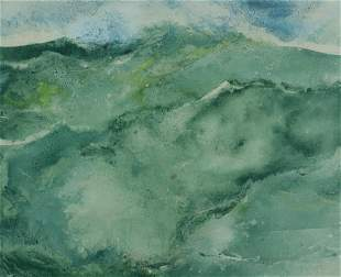 William Thon, Wave, Watercolor on paper, framed