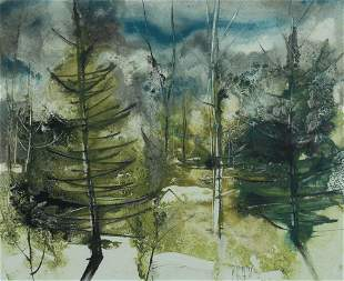 William Thon, Woods, Watercolor on paper, framed